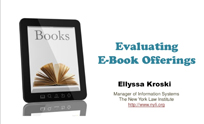 Evaluating e-Book Offerings