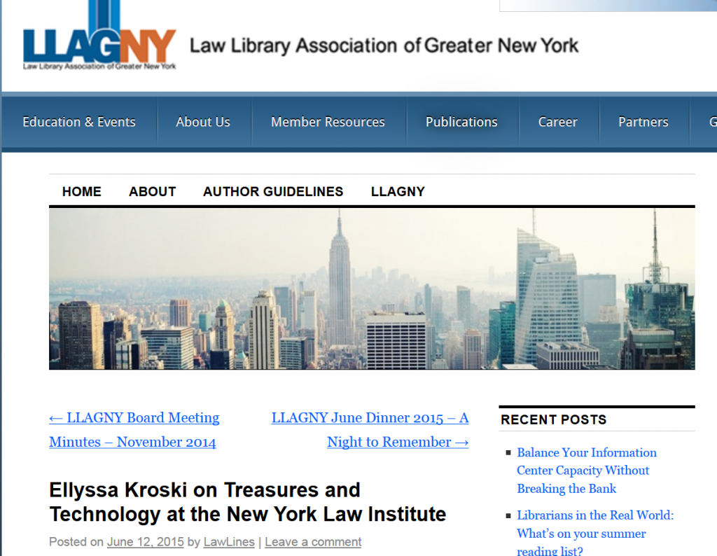 Ellyssa Kroski on Treasures and Technology at the New York Law Institute